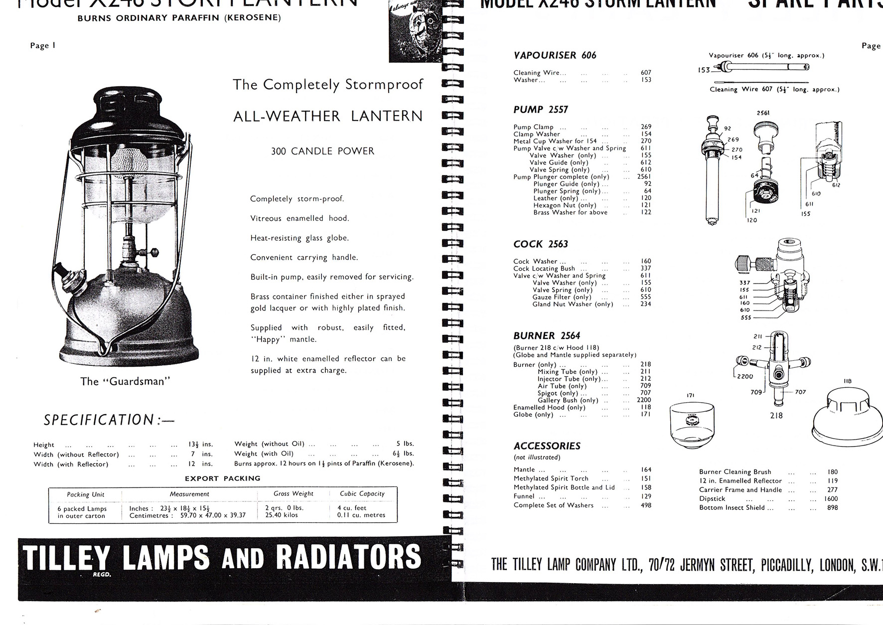 Parts For Tilley X246 Pre 1960